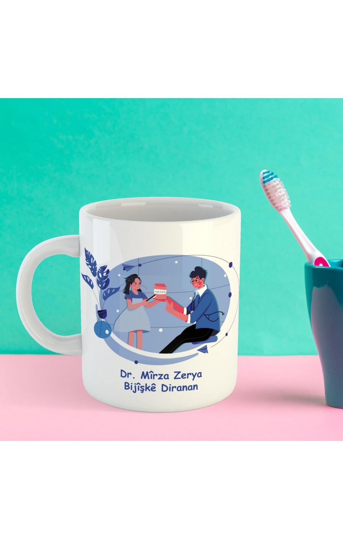 Doktorlara Özel İsimli Porselen Kupa - Bijîşkê Diranan
