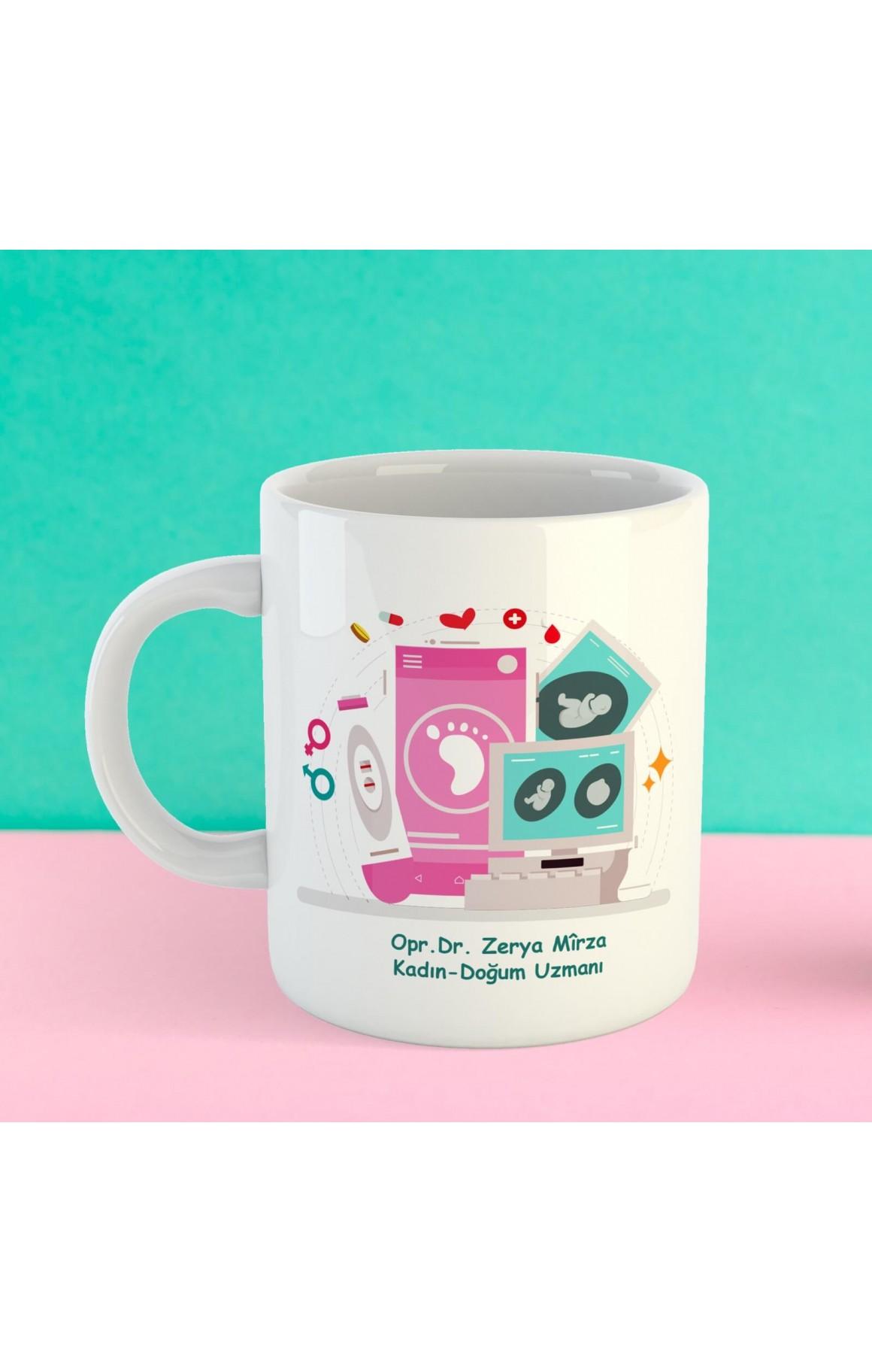 Doktorlara Özel İsimli Porselen Kupa - Kadın Doğum Uzmanı