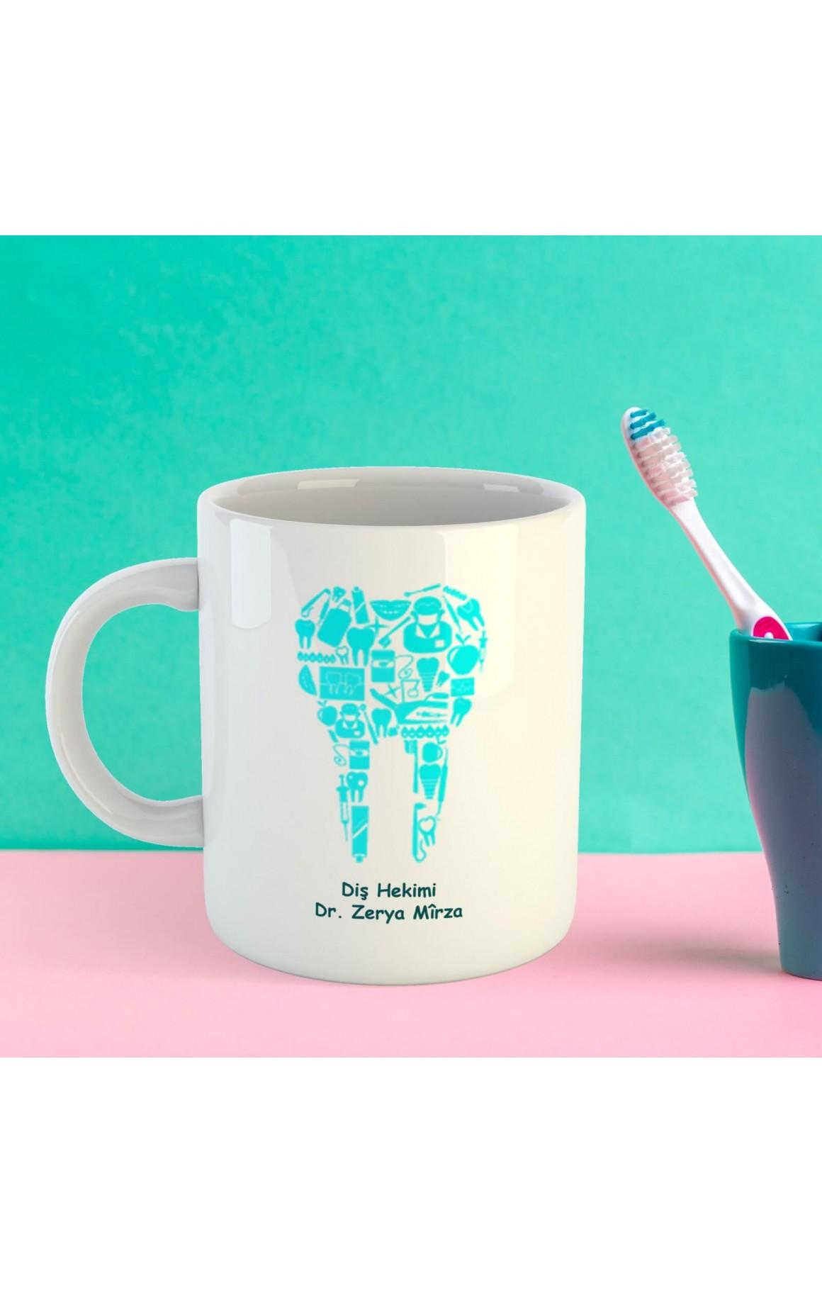 Doktorlara Özel İsimli Porselen Kupa - Diş Hekimi