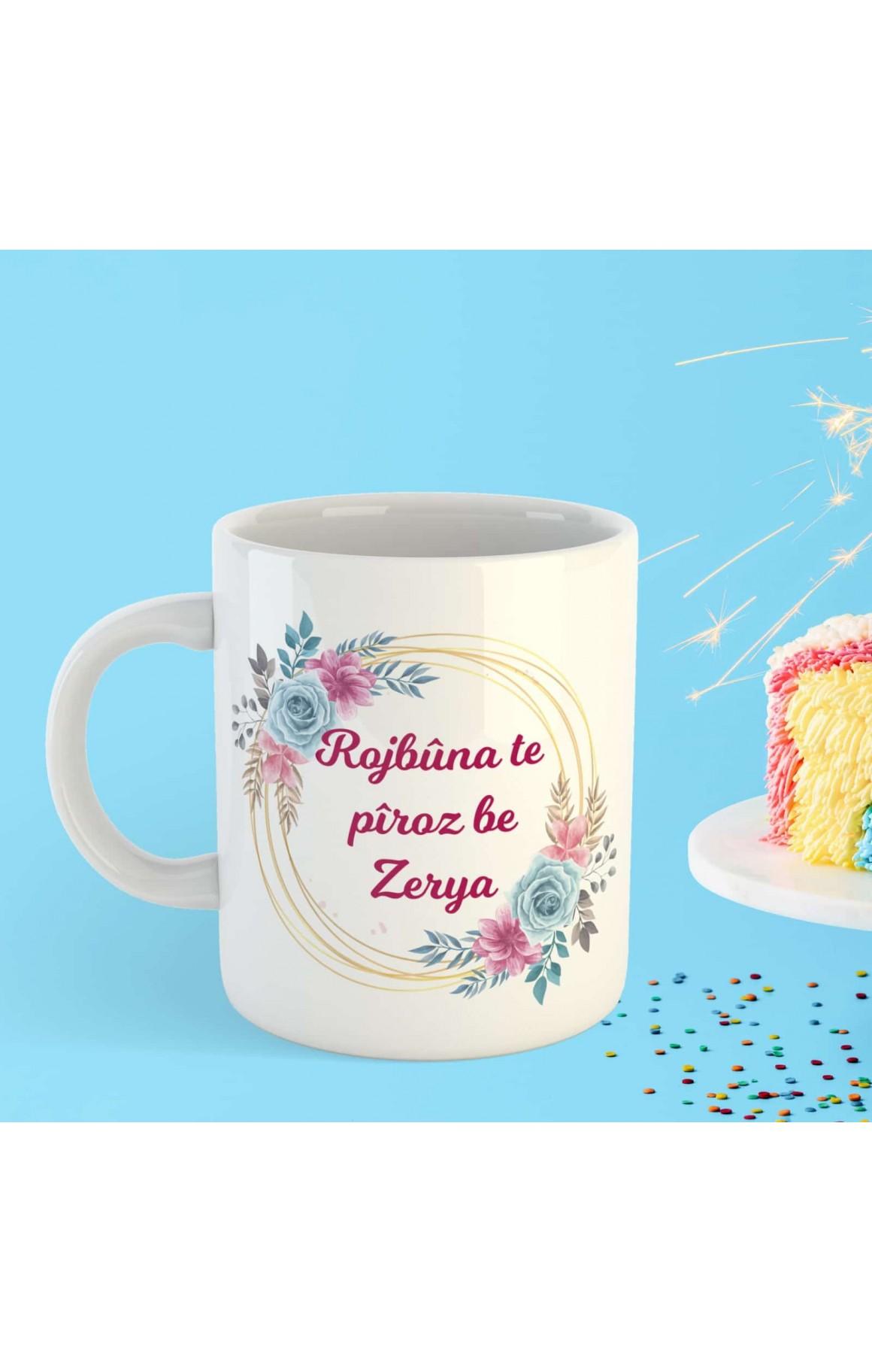 Doğum Gününe Özel İsimli Porselen Kupa - Rojbûn