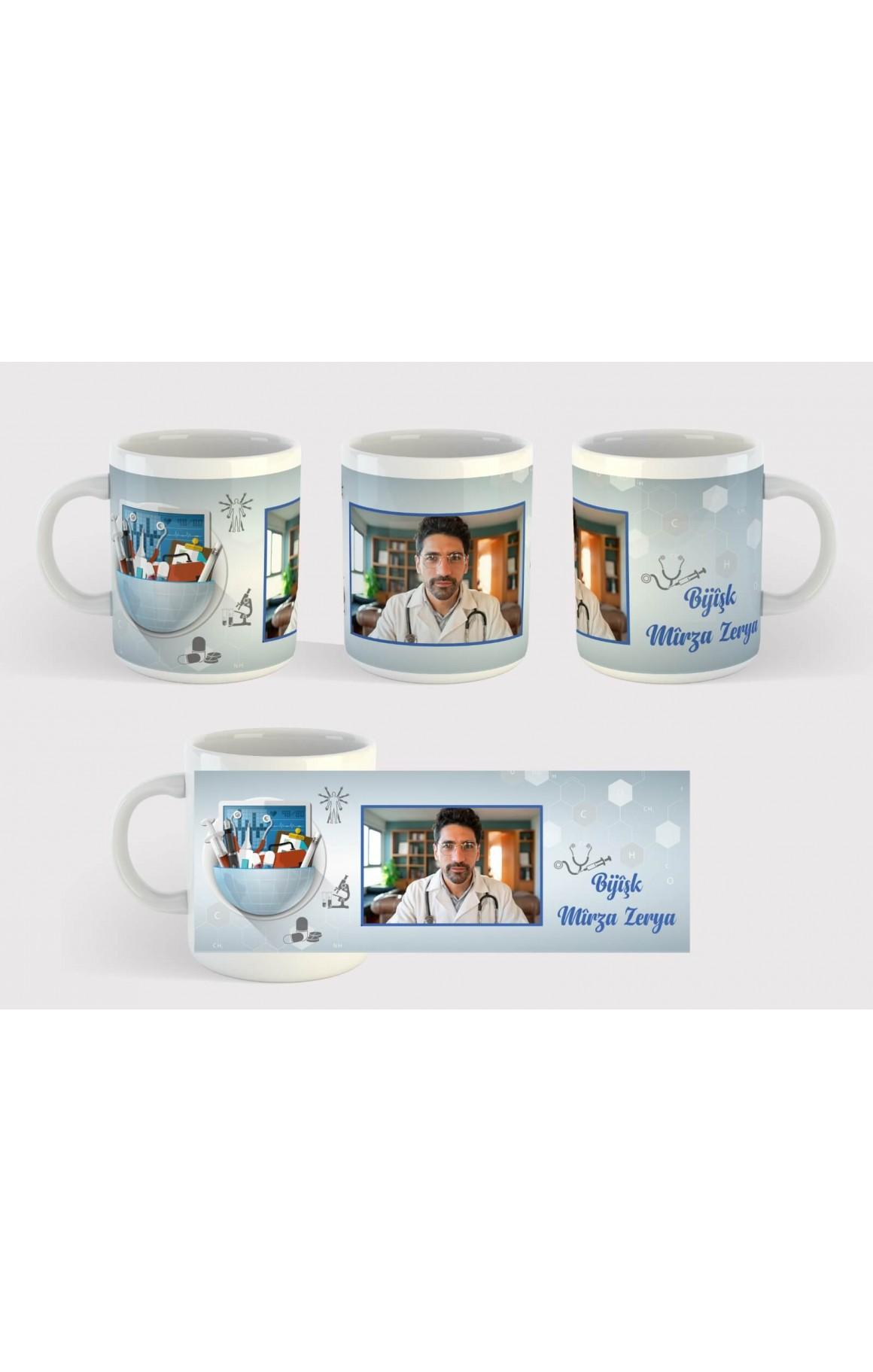 Doktorlara Özel İsimli ve Resimli Porselen Kupa