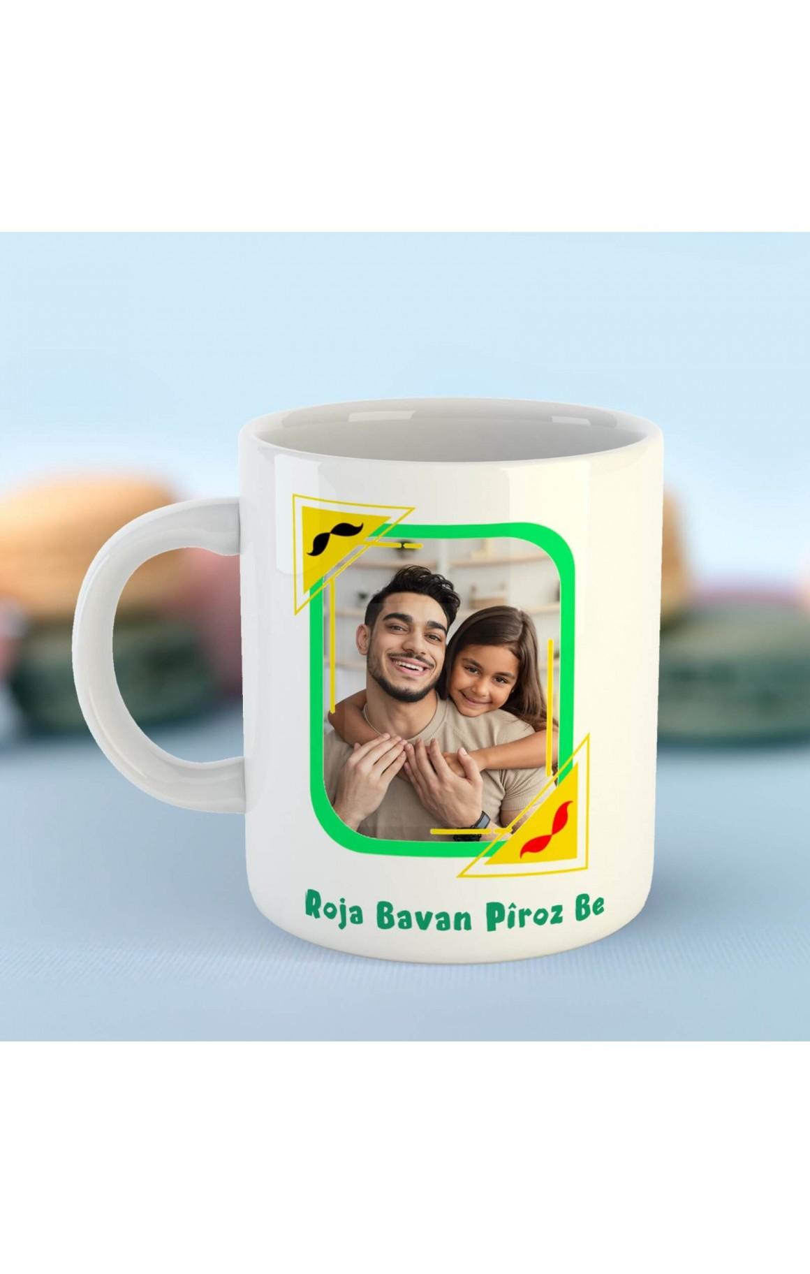 Babalara Özel Resimli Porselen Kupa - Roja Bavan Pîroz be