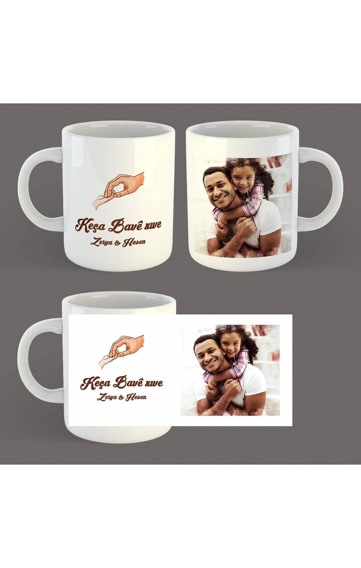 Babalara Özel Resimli ve İsimli Porselen Kupa - Keça Bavê Xwe