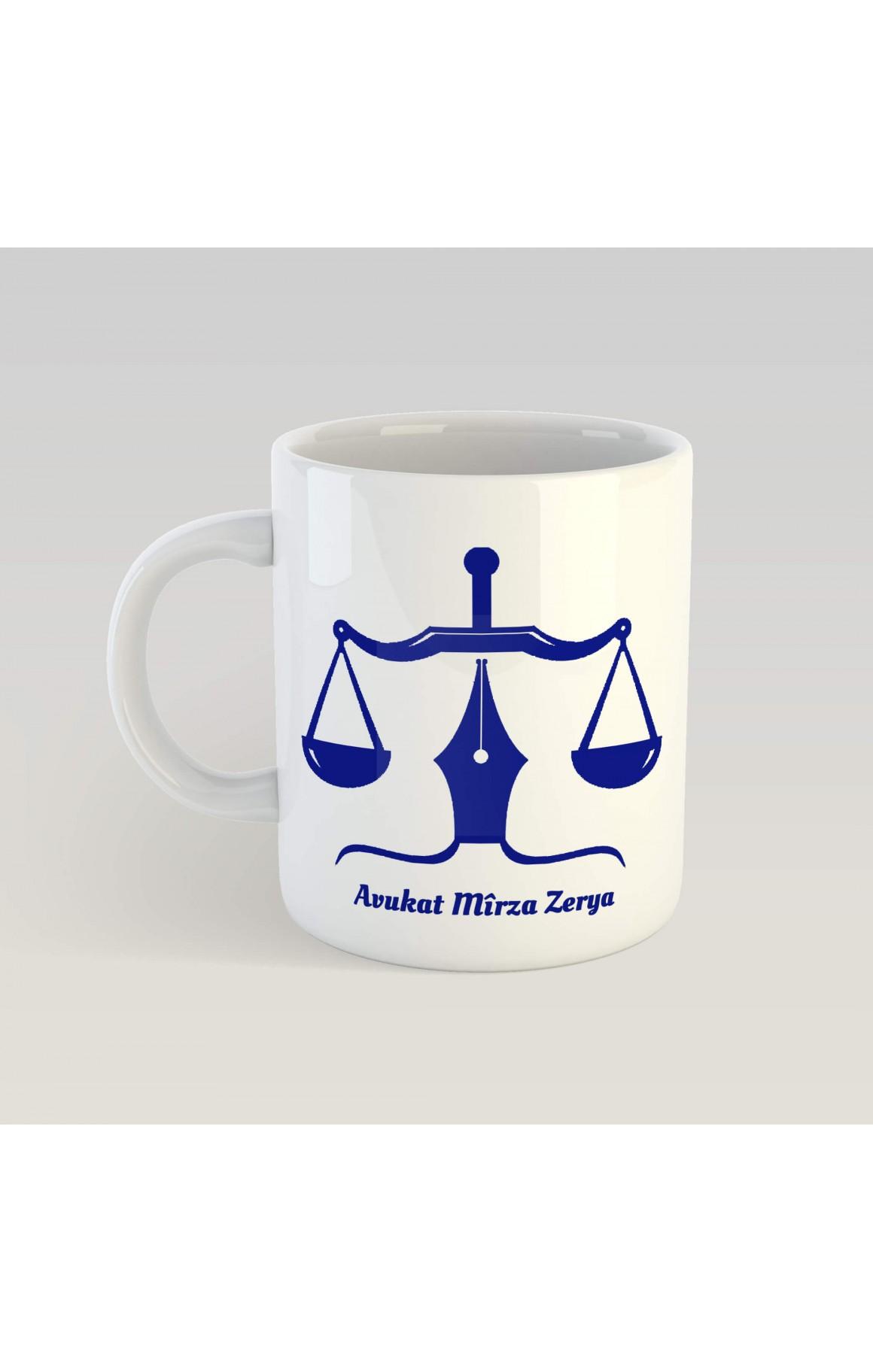 Kişiye Özel İsimli Avukat Porselen Kupa - Mavi