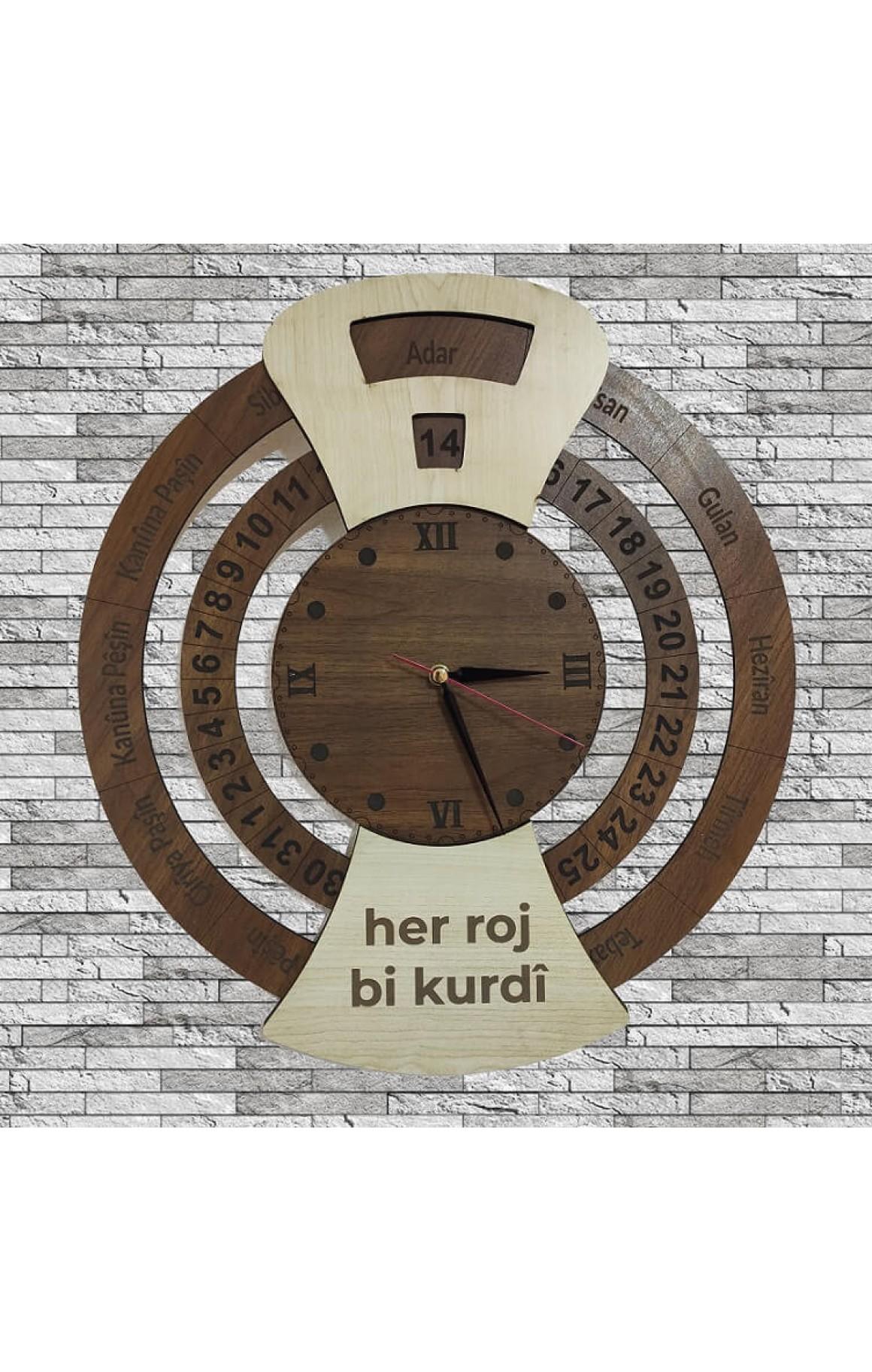 Kürtçe Özel Ahşap Saat