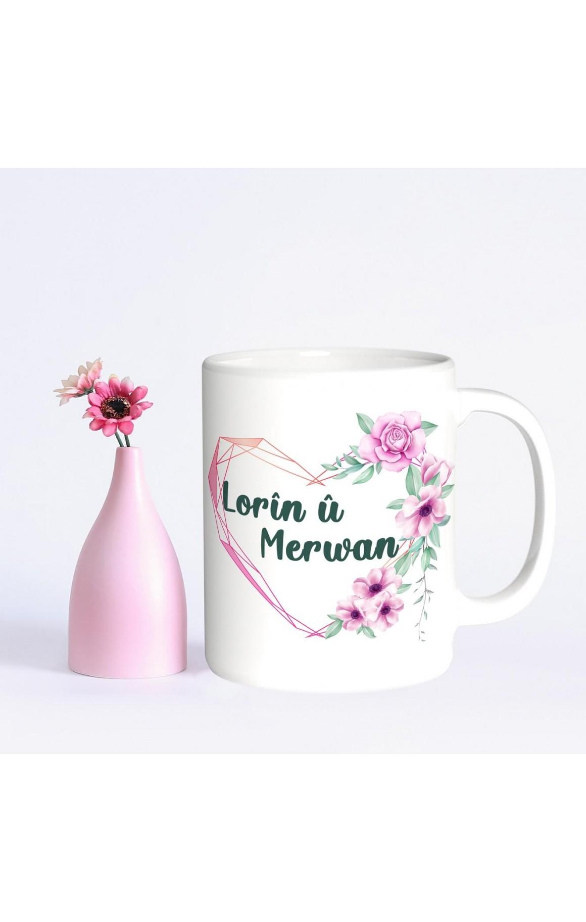 Kişiye Özel İki İsimli Sevdiğinize Porselen Kupa