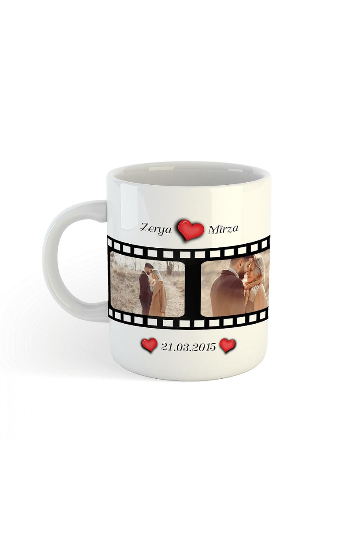 Kişiye Özel Film Şeridi Tasarımlı 3 Fotoğraflı Porselen Kupa